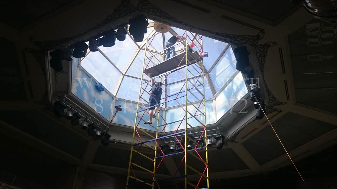 Установка солнцезащитной пленки Silver 15 на купол ресторана  79 м.кв _